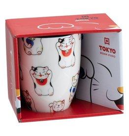 Tokyo Design Studio Kawaii Lucky Cat kopje  in geschenkdoos (Wit)