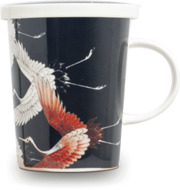 Black tea cup with crane in gift box