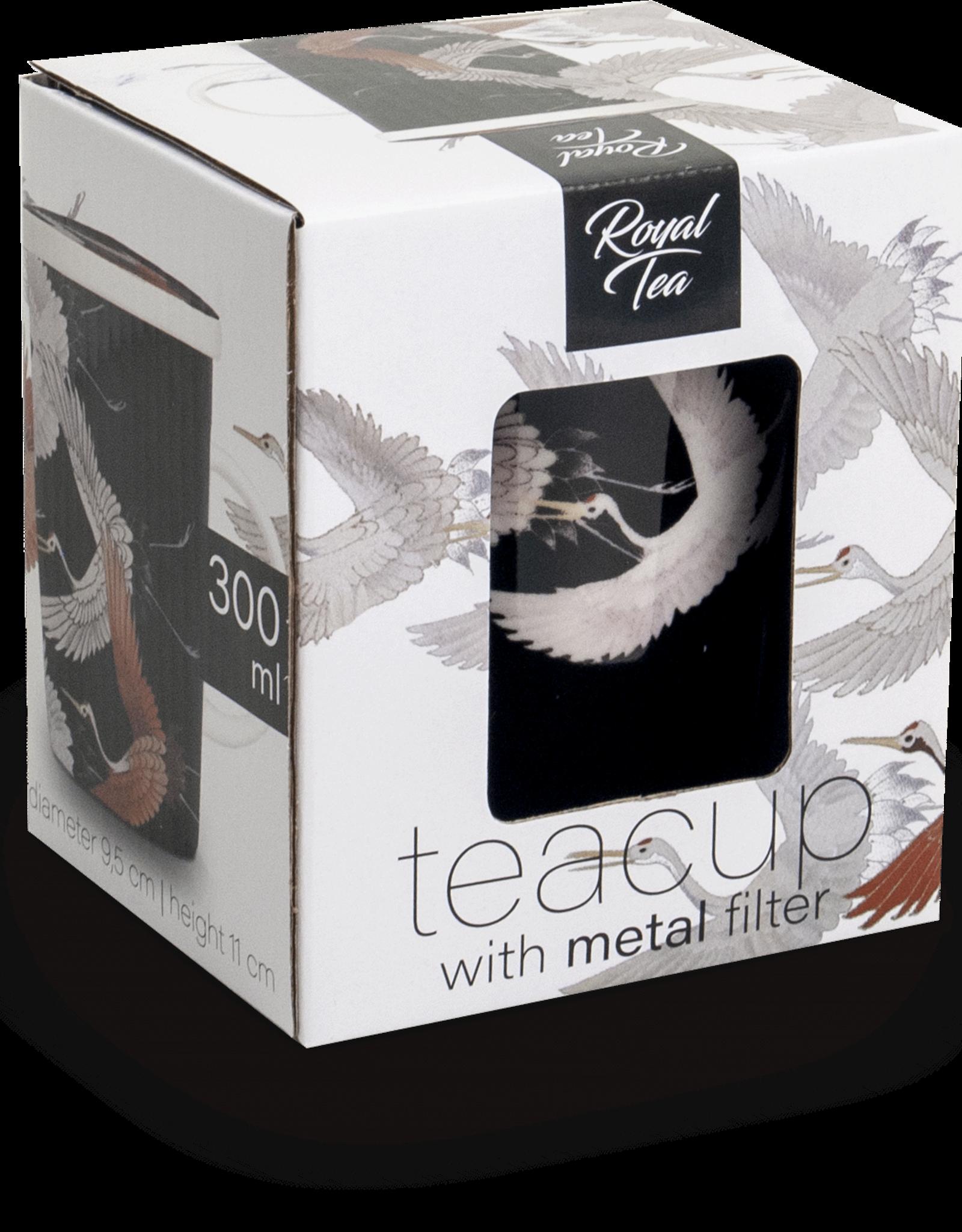 Zwarte theebeker met kraanvogel in geschenkdoos