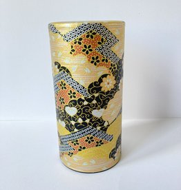 Tokyo Design Studio japanese tea tin chic gold with chrysanthemums