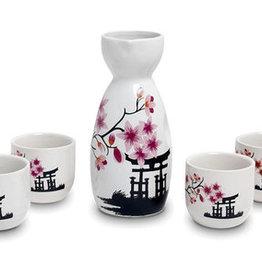 Japanese sake set tori in spring