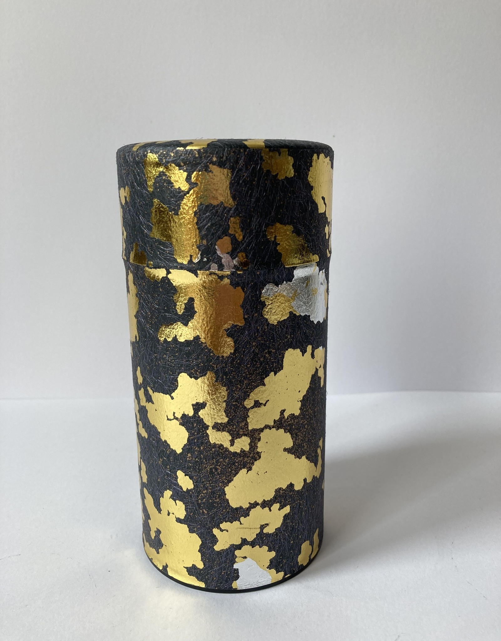 Japans theeblik met washi papier zwart goud