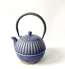 Light blue cast iron teapot