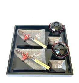 Black sushi set with character for two persons