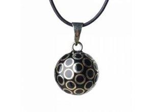 Babylonia Zwangerschapsketting zwart zilveren bolletjes