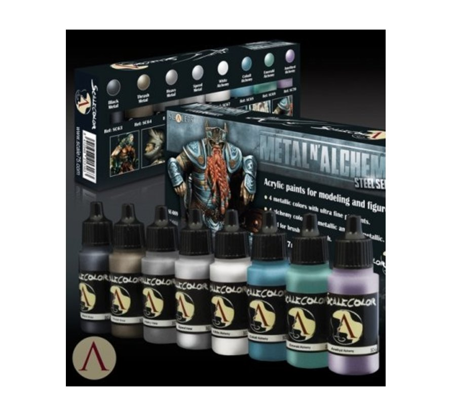 Metal'n Alchemy - Steel metallic paint set - 8 kleuren - 17ml - SSE-009