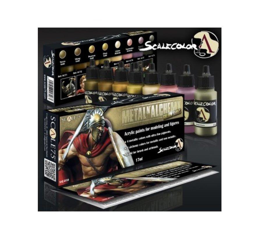 Metal'n Alchemy - Golden metallic paint set - 8 kleuren - 17ml - SSE-010