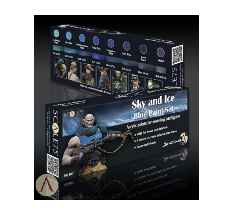 Sky and Ice - Blue Paint Set - 8 kleuren - 17ml - SSE-007