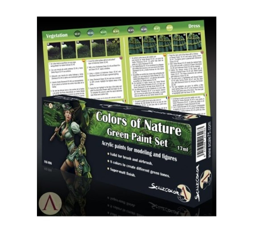 Colors of Nature - Green Paint Set - 8 kleuren - 17ml - SSE-006