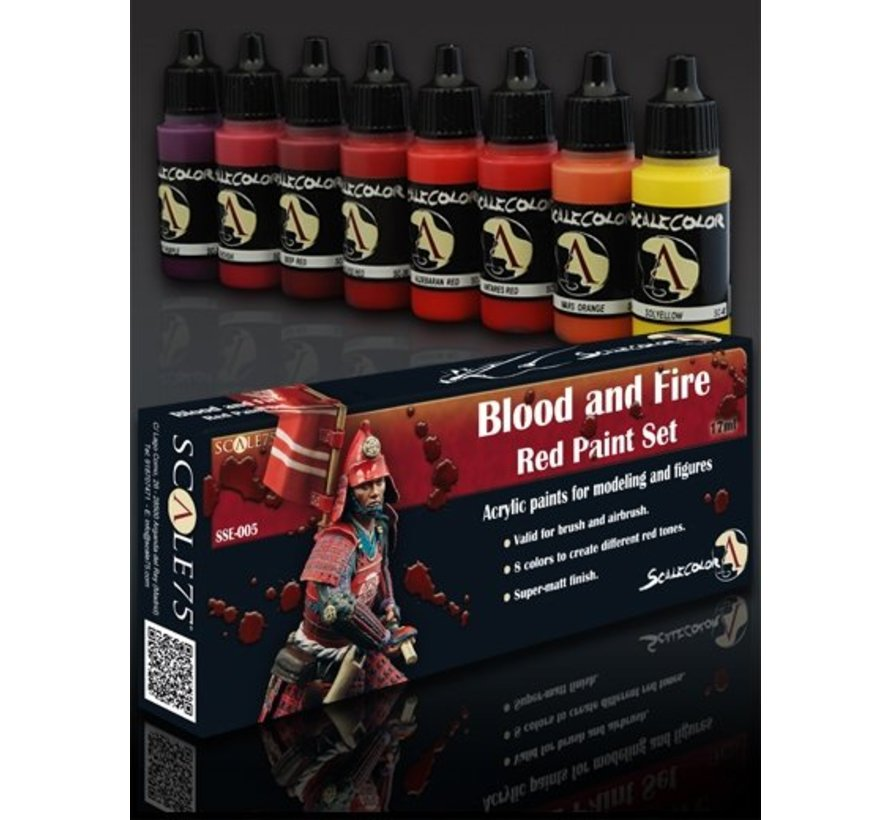 Blood and Fire - Red Paint Set - 8 kleuren - 17ml - SSE-005