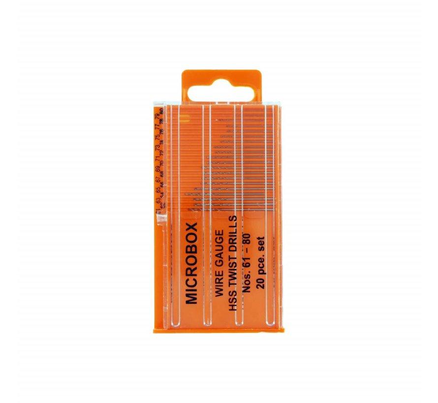Microbox drill set - borenset - 61-80 - 20x - Vallejo Tools - T01002