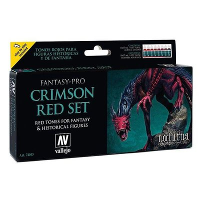 Vallejo Fantasy-Pro Crimson Red Set - 8 kleuren - 17ml - 74103