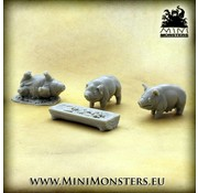 Mini Monsters Three Pigs and a Trough - 4x - MM-52