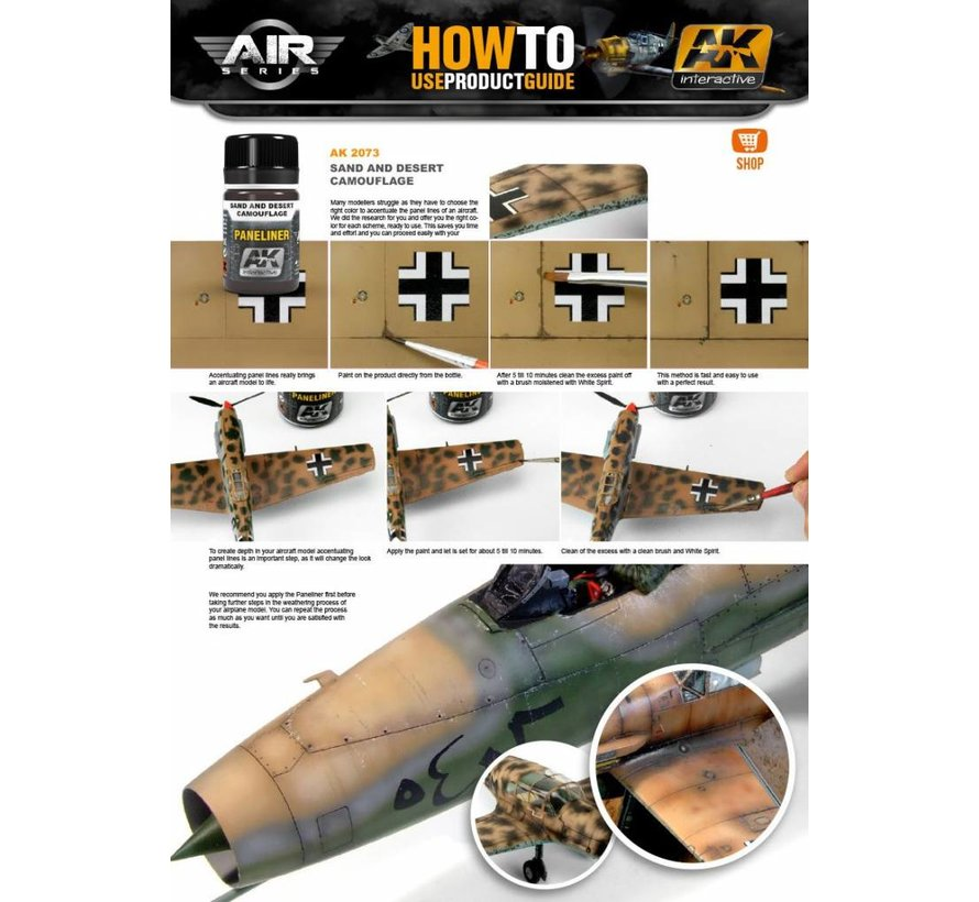 Paneliner For Sand And Desert Camouflage - Air Series - AK Weathering - 35ml - AK-2073