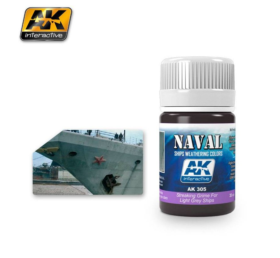 Streaking Grime For Light Grey Ships  - Naval Ships Weathering - Streaking - 35ml - AK-305