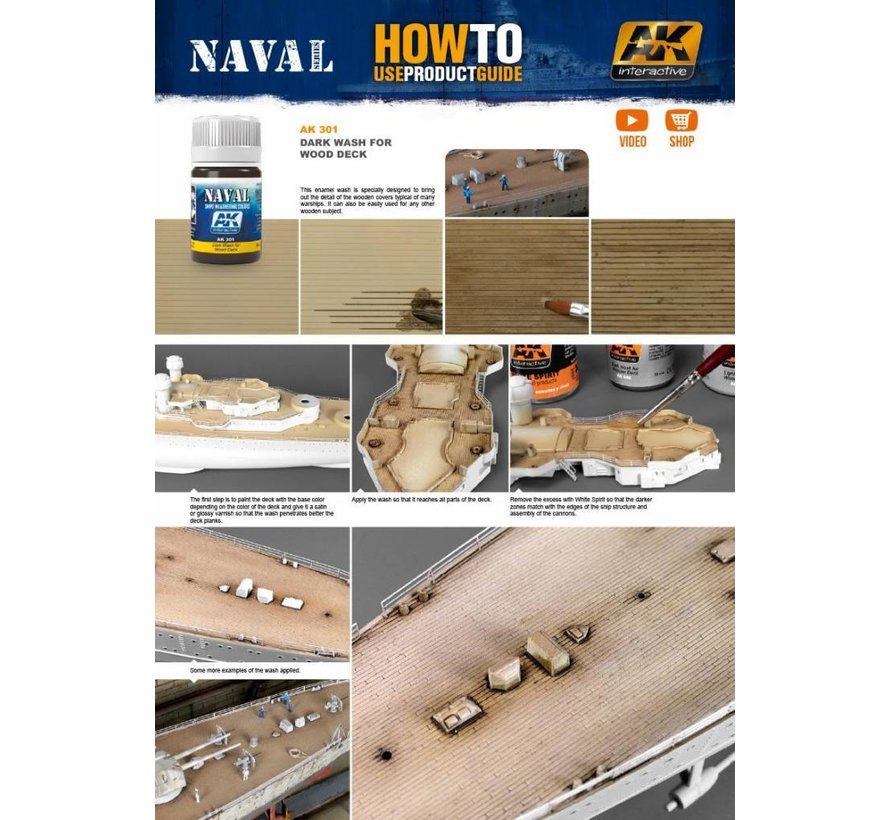 Dark Wash For Wood Decks - Naval Ships Weathering - Wash - 35ml - AK-301
