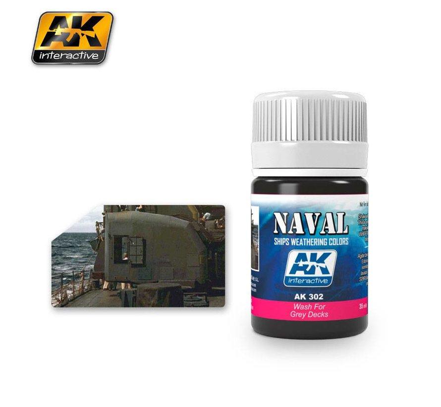 Wash For Grey Decks - Naval Ships Weathering - Wash - 35ml - AK-302
