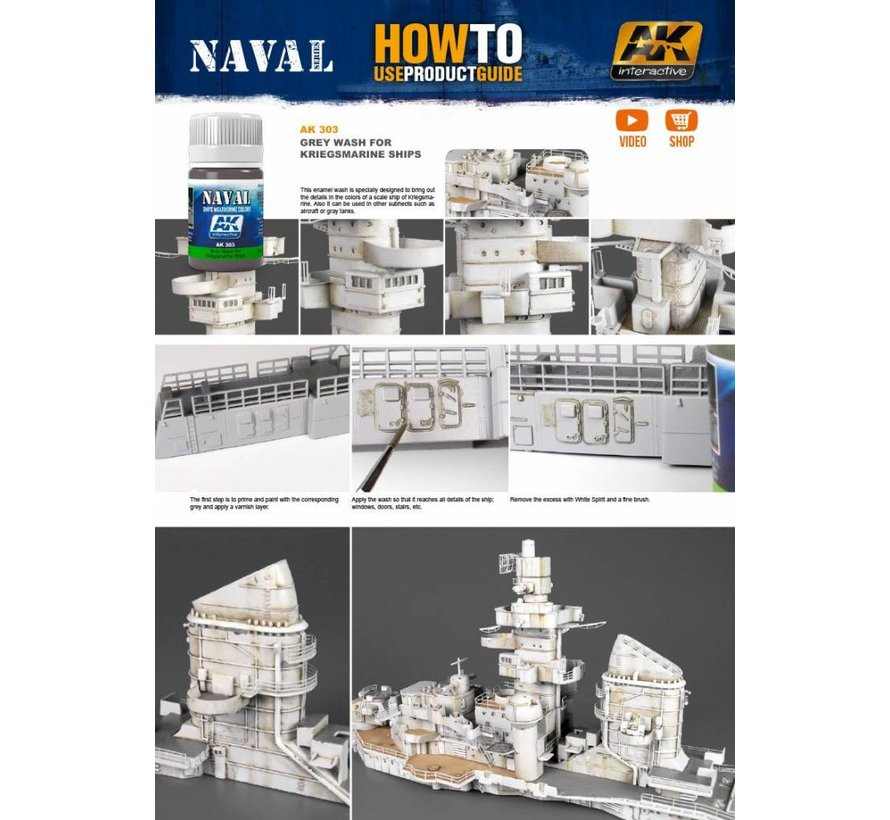 Grey Wash For Kriegsmarine Ships  - Naval Ships Weathering - Wash - 35ml - AK-303