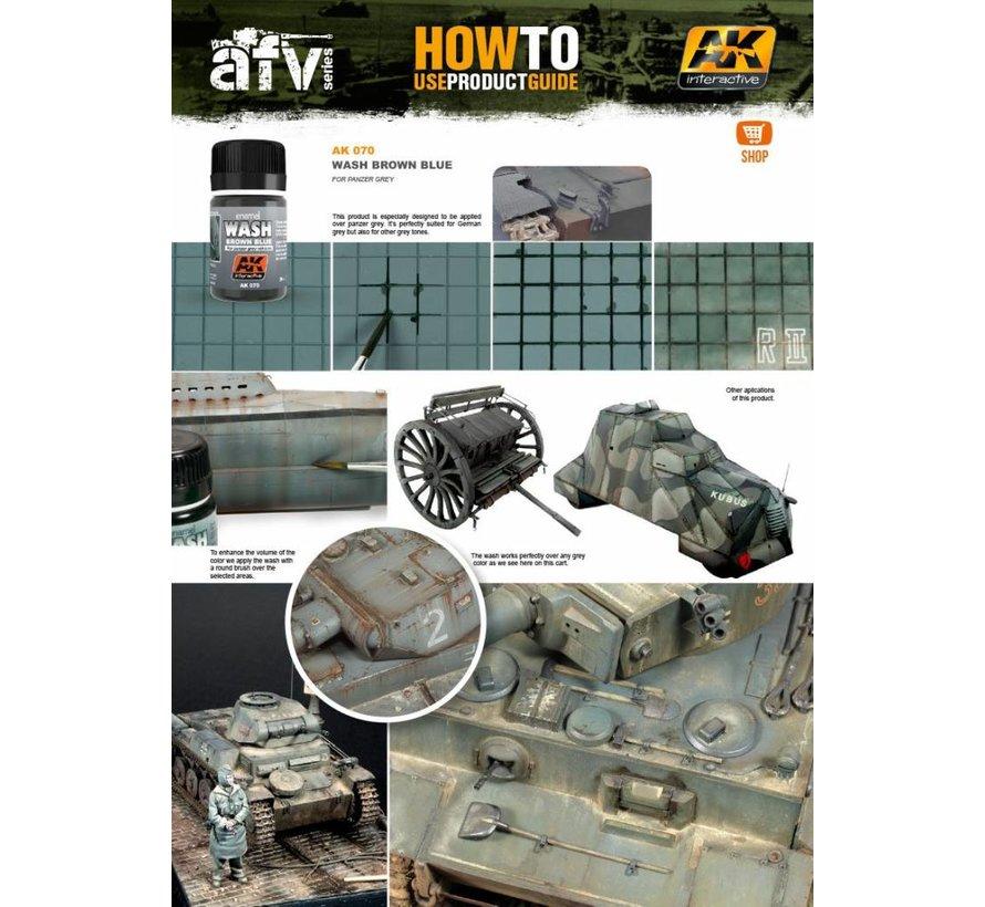 Wash For Panzer Grey Vehicles - Weathering Wash - 35ml - AK-070