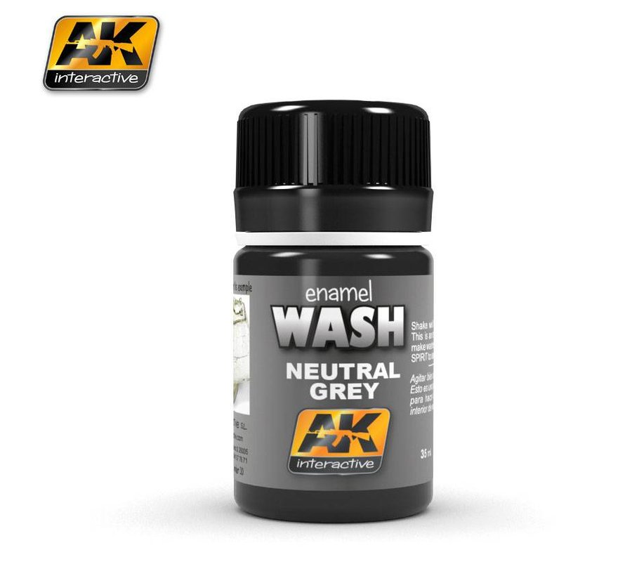 Neutral Grey For White/Black Wash - Weathering Wash - 35ml - AK-677