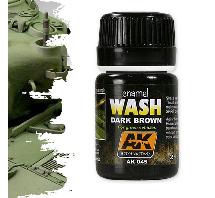 Dark Brown Wash For Green Vehicles - Weathering Wash - 35ml - AK-045