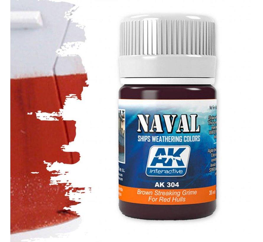 Brown Streaking Grime For Red Hulls  - Naval Ships Weathering - Streaking - 35ml - AK-304