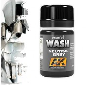 AK interactive Neutral Grey For White/Black Wash - Weathering Wash - 35ml - AK-677