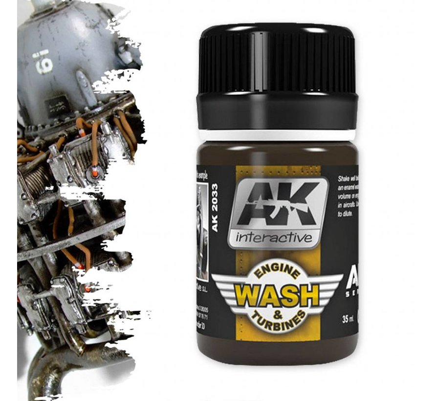 Wash For Aircraft Engine - Air Series - Weathering Wash - 35 ml - AK-2033