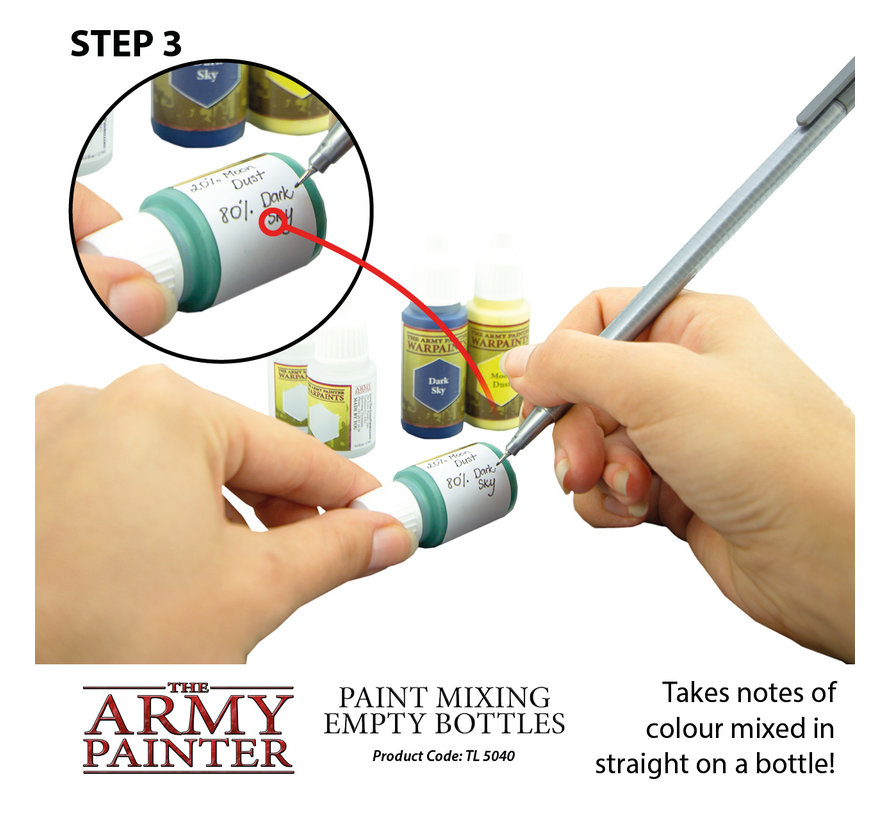 Paint Mixing Empty Bottles - 6x - 12ml - TL5040