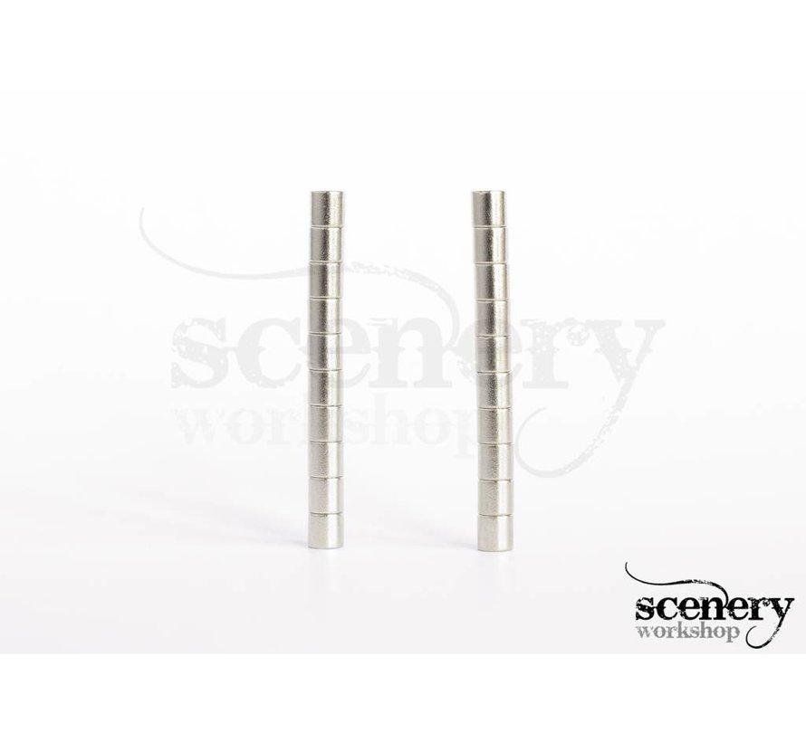 2mm x 2mm Rare Earth Magneten voor miniaturen - 20x - S-02-02-N-20