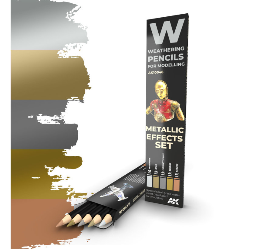 Weathering Pencil Metallic Effects Set - 5 kleuren - AK10046