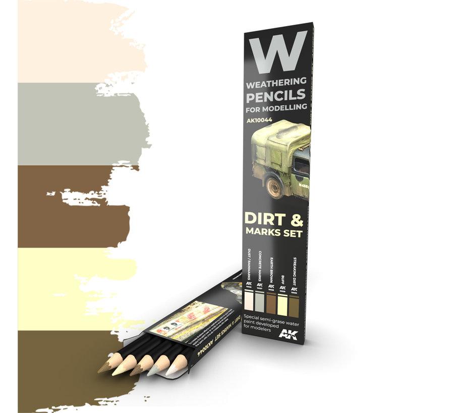 Weathering Pencils Set Dirt & Marks Set - 5 kleuren - AK10044