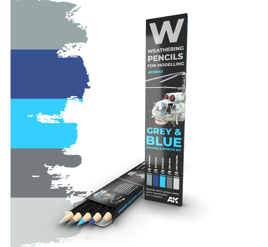 Weathering Pencil Set Grey and Blue - 5 kleuren - AK10043