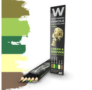AK interactive Weathering Pencil Set Green and Brown - 5 kleuren - AK10040