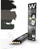 AK interactive Weathering Pencil Set Black and White - 5 kleuren - AK10039