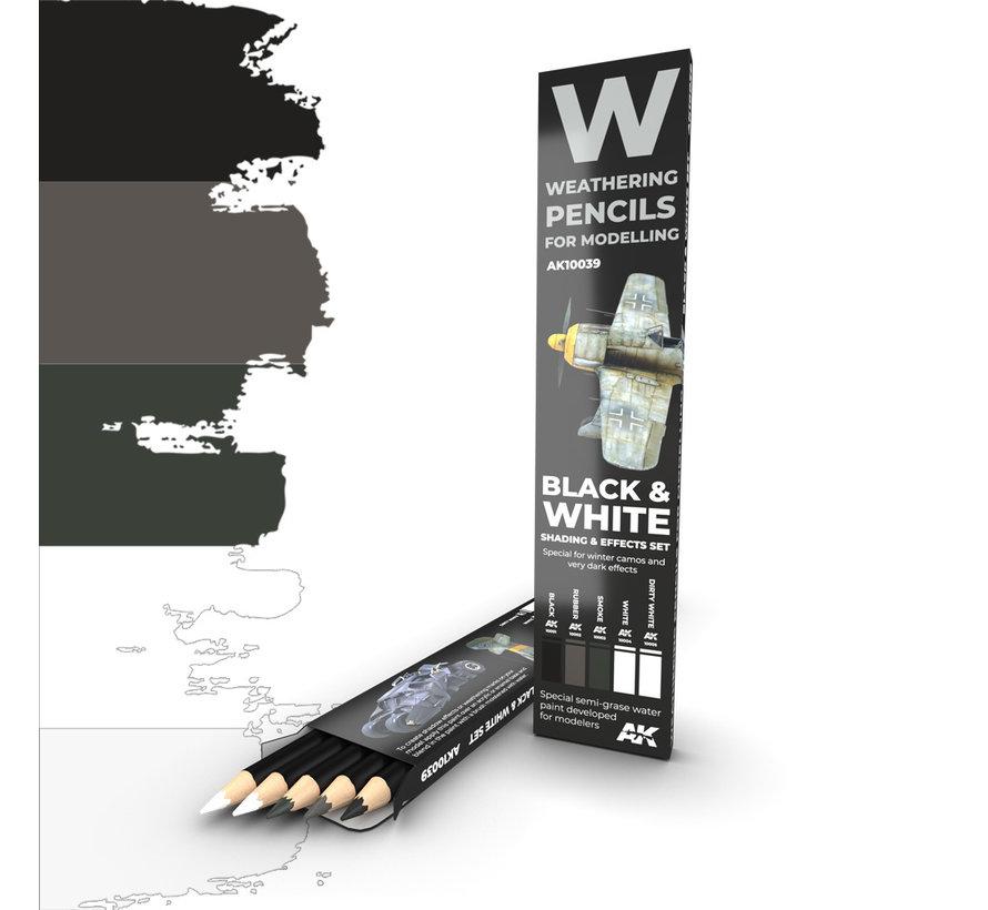Weathering Pencil Set Black and White - 5 kleuren - AK10039
