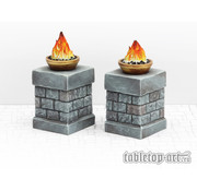 Tabletop-Art Fire Bowl on Pillars - 2x - TTA800025