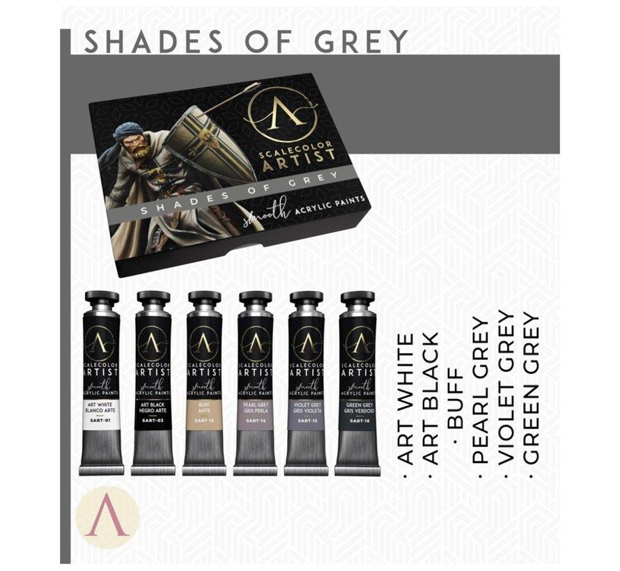 Shades Of Grey Artist kleuren - 6 kleuren - 20ml - SSAR-03