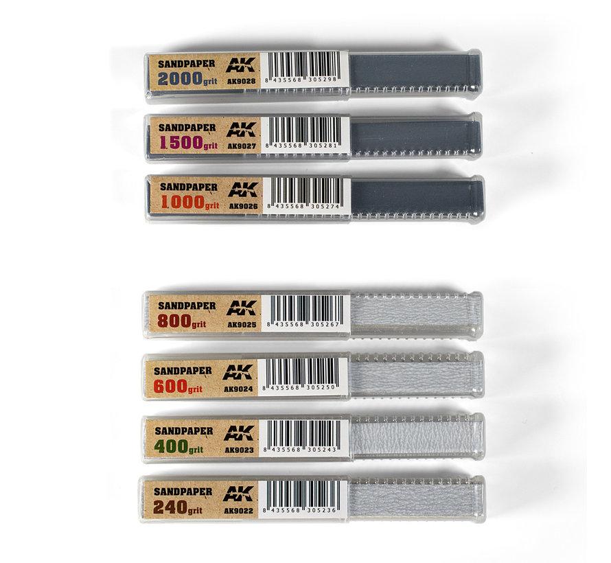 Dry Sandpaper 400 grit strips - 11x1cm - 50x - AK9023