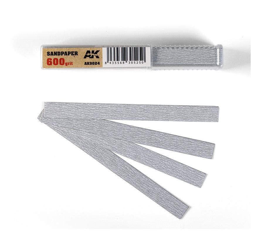 Dry Sandpaper 600 grit strips - 11x1cm - 50x - AK9024
