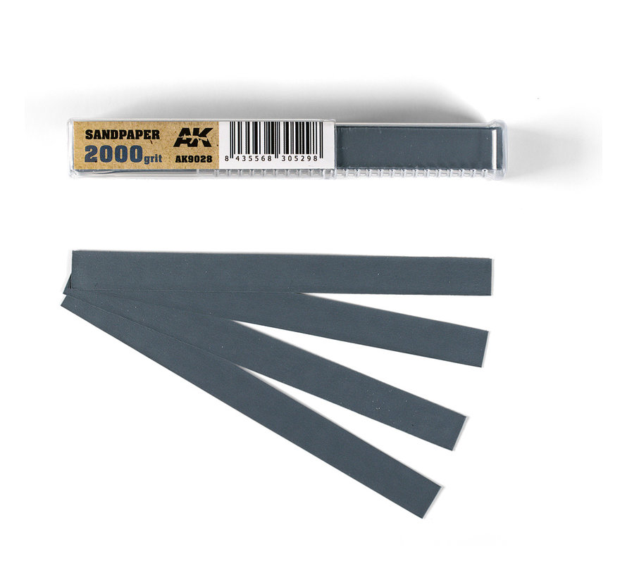 Wet Sandpaper 2000 grit strips - 11x1cm - 50x - AK9028