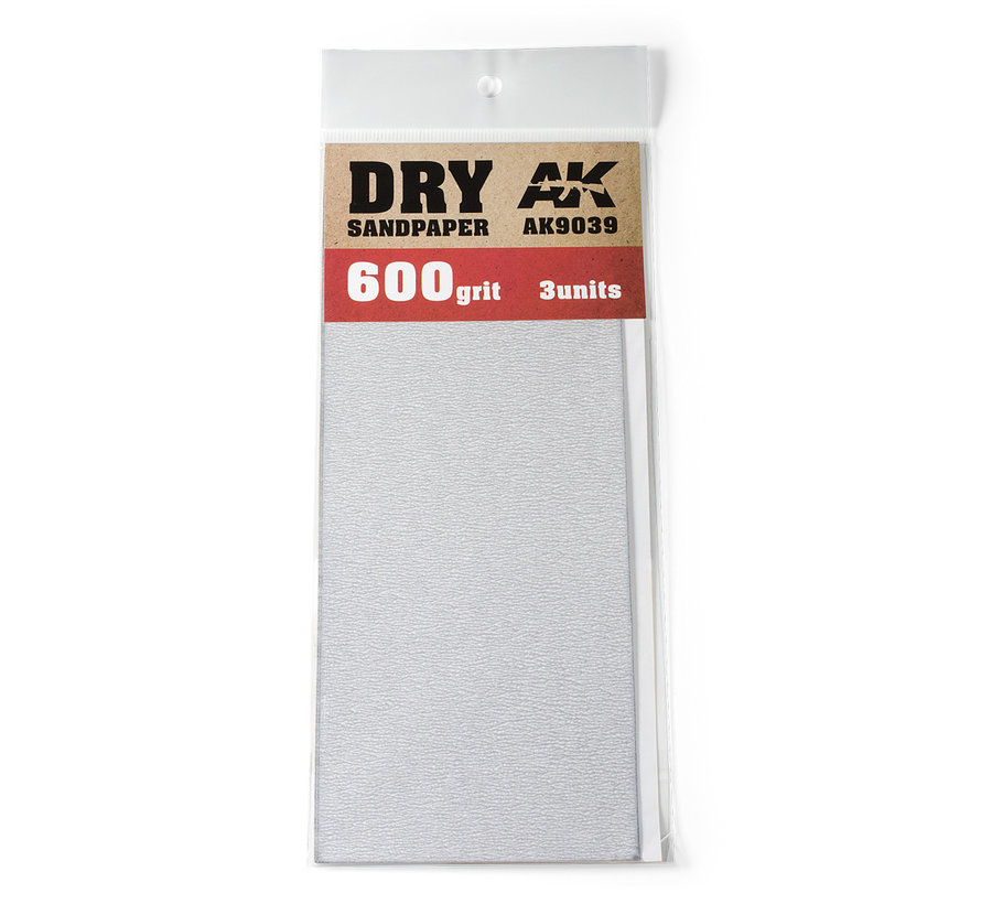 Dry Sandpaper 600 grit - 3x - AK9039