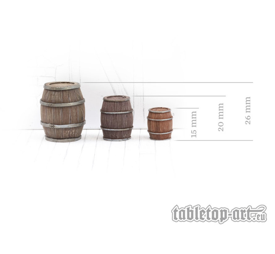 Wooden Barrels Set 4 - Mixed Sizes - 15x - TTA601092