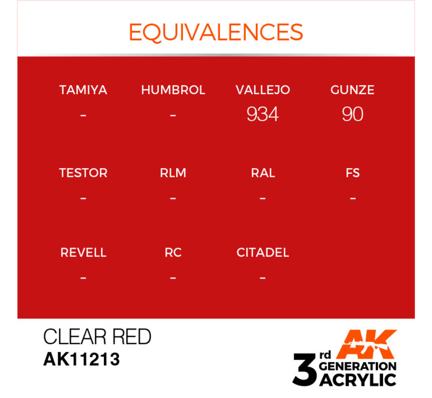 Clear Red Acrylic Modelling Colors - 17ml - AK11213