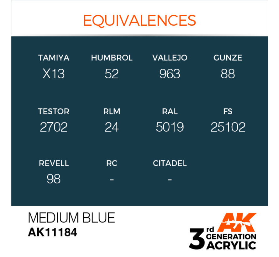 Medium Blue Acrylic Modelling Colors - 17ml - AK11184
