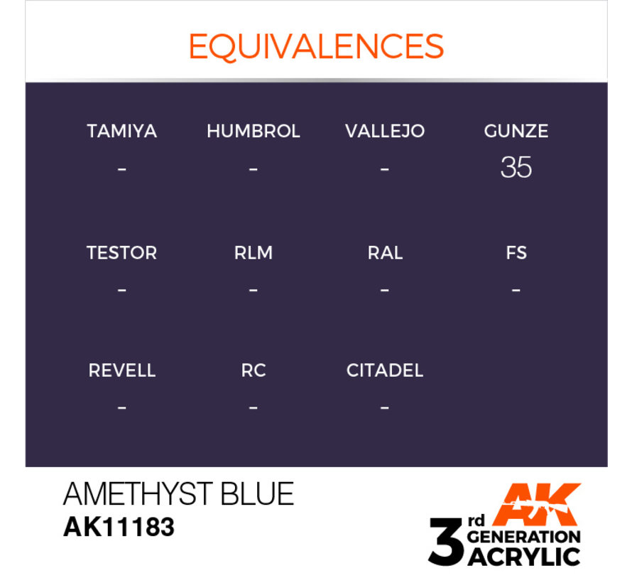 Amethyst Blue Acrylic Modelling Colors - 17ml - AK11183