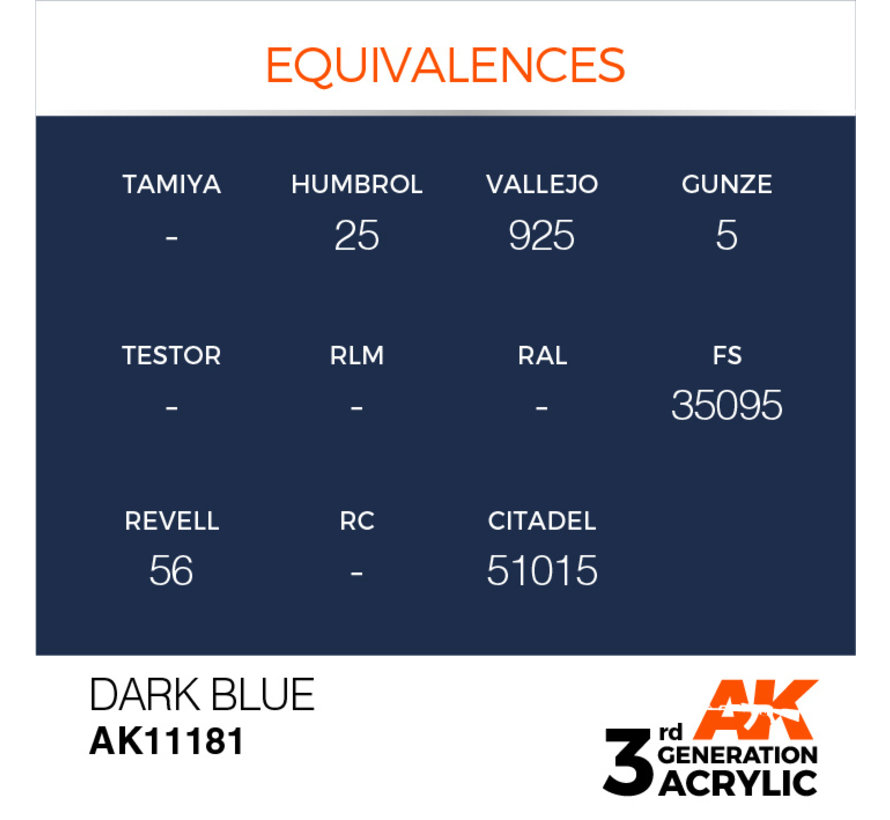 Dark Blue Acrylic Modelling Colors - 17ml - AK11181
