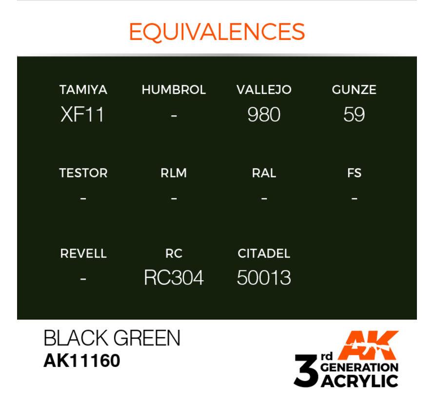 Black Green Acrylic Modelling Colors - 17ml - AK11160