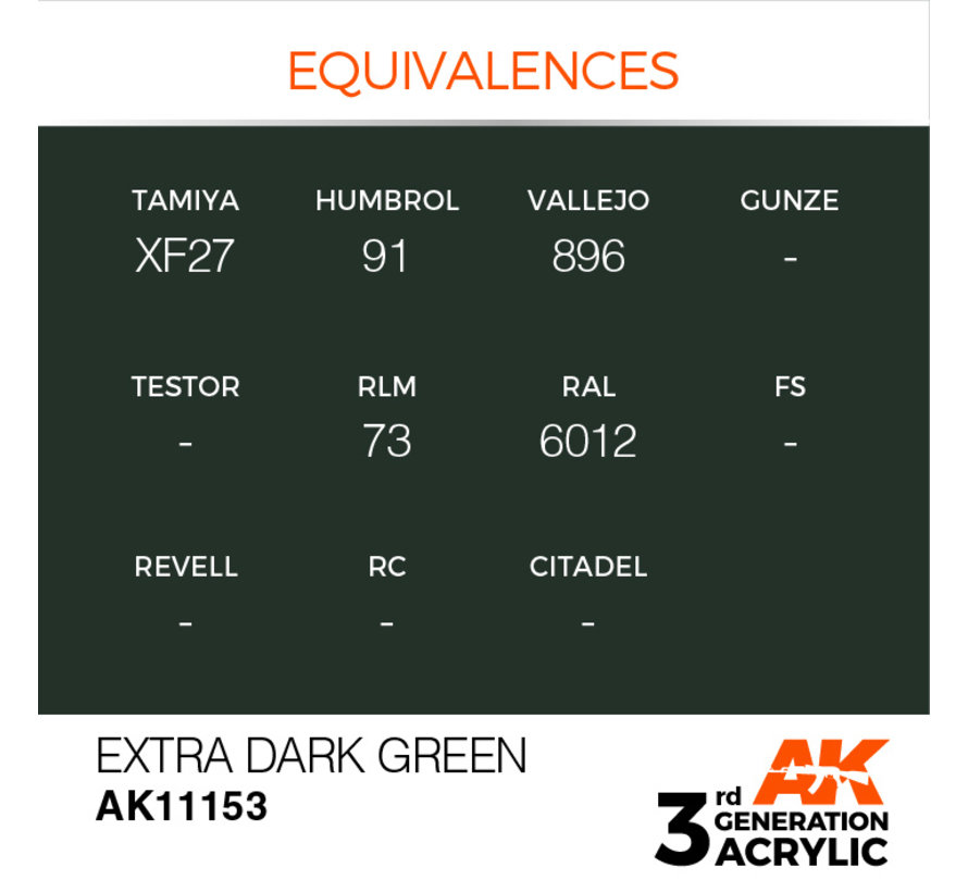 Extra Dark Green Acrylic Modelling Colors - 17ml - AK11153