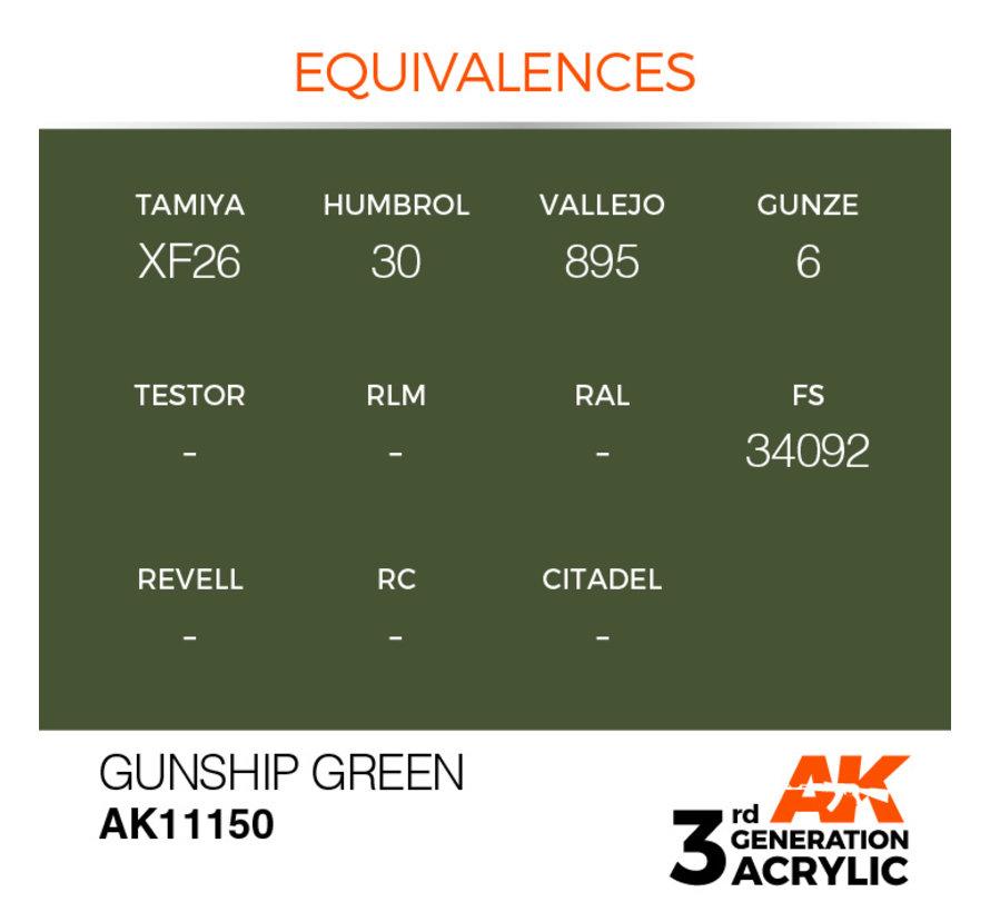 Gunship Green Acrylic Modelling Colors - 17ml - AK11150